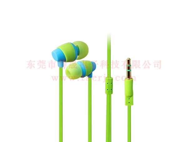 LS-EP-073 入耳式塑胶MP3耳机 绿色面条线