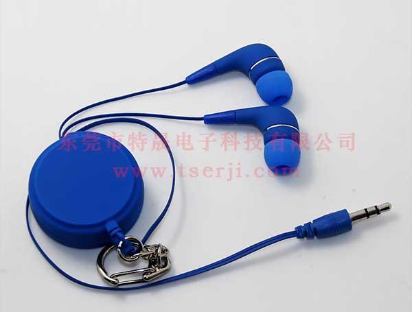 LS-ES-013E 蓝色单拉伸缩线耳机